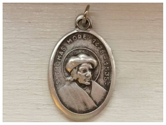 5 Patron Saint Medal Findings, St. Thomas More, Die Cast Silverplate, Silver Color, Oxidized Metal, Made in Italy, Charm, Religious, RM314