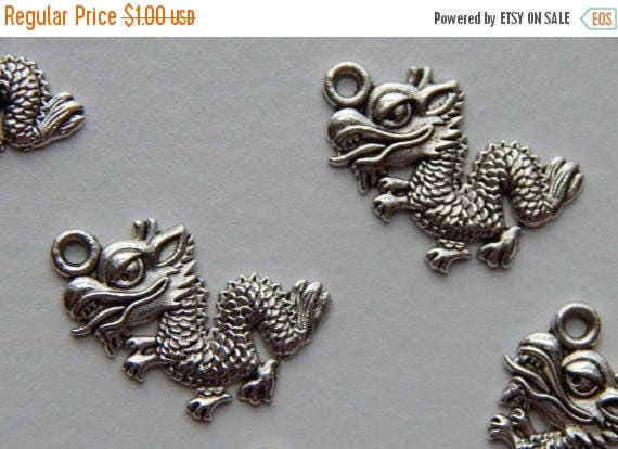 CLOSING SALE 10 Pieces of Metal Jewelry Charms - 19mm Long, Dragon, Eastern Style, Single Sided, Top Loop for Attaching, Highly Detailed, Fa