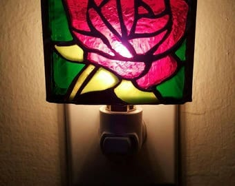 Hand-made Rose Stained Glass Nightlight