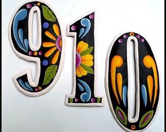 "4 House Numbers - 4 1/2"" Hand Painted Metal Address - Recycled Steel Drum in Haiti - Metal House Numbers -Outdoor Metal Art -  AD-100-7-GL"