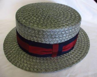 Mens Resistol Straw Boater Hat 1920s/1930s Vintage