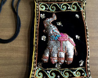 Vintage Elephant Pouch/Purse Black velvet sequenced with Long shoulder strap Trunk Up! NICE!