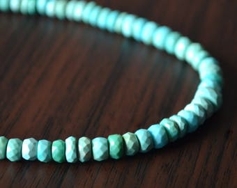 "Real Turquoise Rondelles, Faceted Turquoise Roundels, Gemstone Beads, Shaded Rondel, Genuine Stone, 3mm - 5mm, 6 3/4"" Strand - ONLY STRAND"