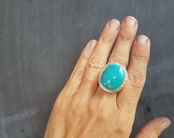 Kingman Turquoise Hollowform Ring
