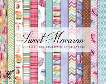 Macaron Pattern - Macaron Paper - Macaron Display - Background Paper - Watercolor Paper - Digital Download - Digital Paper - Paper Pack