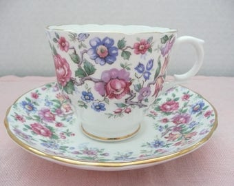 "Royal Victoria ""Springtime"" Gilt Edge, Chintz Pattern Bone China Teacup and Saucer, Chintz Teacup and Saucer, Made in England"