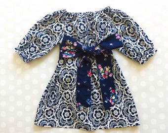 Navy Floral Lace Print Girl's Fall Dress - 3/4 Sleeve - Long Sleeve Dress - Baby Girl Dress - Girls Dresses - Fall Dresses - Baby Girl