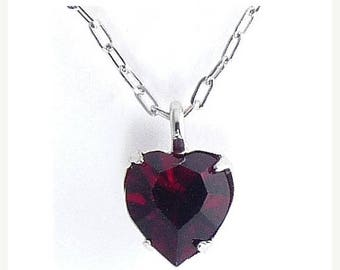 WELL'S Sterling Silver & Ruby Red Crystal JULY Birthstone Pendant Necklace - Old Stock