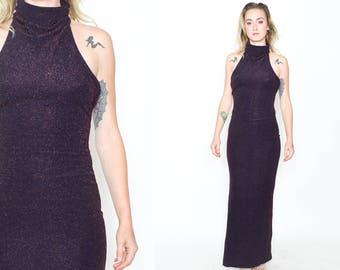 BLACK PURPLE SPARKLY Dress. 1990's Vintage. Metallic Textured Sparkle. Low Back/Sleeveless. Mod Minimalist Long Dress. Size Small Medium.
