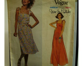 Diane Von Furstenberg Sundress Pattern, Tie Shoulders, Fitted Bustline, Flared Skirt, Long/Short, Vogue American Designer No. 1638 Size 10