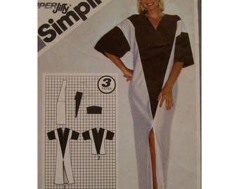Color Block Caftan Pattern, Boho Tunic, Front Slit, V-neck, Elbow Length Sleeves, 1980s, Simplicity 9919 UNCUT Size Small 10-12 Bust 32 34