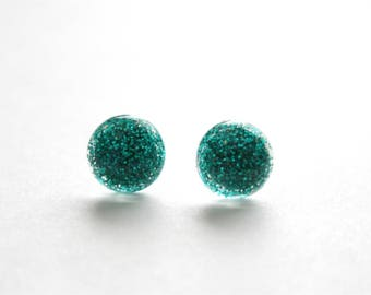 Emerald Glitter Dot Earrings with Stainless Steel Posts