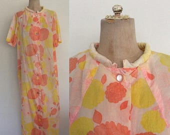 30% OFF 1970's Pink Floral Print House Dress Floor Length Button Up Maxi Dress Size Large XL by Maeberry Vintage