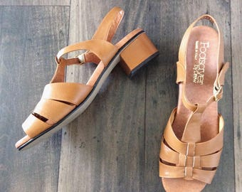 1970's Tan Leather Heeled Sandals Size 10 by Maeberry Vintage