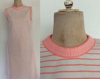 20% OFF 1970's Pink & White Striped Polyester Shift Dress