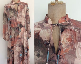 1970's Fall Floral Polyester Dress w/ Ascot Bow Size Small Medium by Maeberry Vintage