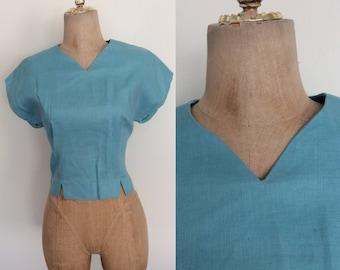 1950's Sky Blue Cotton Cropped Top w/ Button Up Back Vintage Blouse Size Large by Maeberry Vintage
