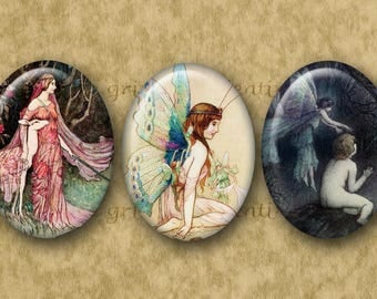 30x40 mm Digital Printable Ovals SUPERNATURAL collage sheet for Pendants Magnets Crafts...vintage fairies + More by Warwick Goble