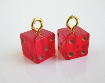 2 Red Bakelite Miniature Dice Charms - Vintage, Small 3/8""