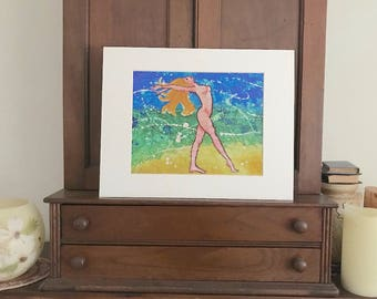 Beach at night, watercolor batik giclee print, nude woman dancing by the seashore, cottage decor, matted 11x14 inches, beige matte