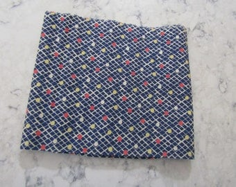 Vintage 1930's 1940's Navy Blue Cotton Fabric with Yellow & Red Polka Dots