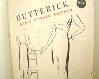 Vintage 1950's Butterick S-225 Pencil Skirt Pattern Hip 43 Complete