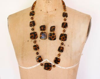 Vintage Faux Tortoise Shell Necklace Set