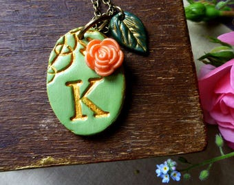 Letter K Necklace - A to Z -  Initial Necklace - Victorian Garden - Fern green and Gold with Coral Rose Oval