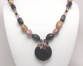 Peruvian Opals Nuggets, Faceted Round Onyx Pendant, Swarovski Crystals, Sterling Silver