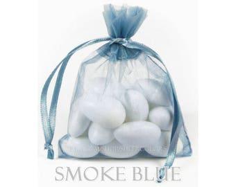 10 Smoke Blue Organza Bags, 5 x 8 Inch Sheer Fabric Favor Bags (cornflower, slate blue)