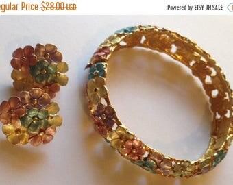 ON SALE Sale Vintage Dimensional Pastel Floral Hinge Bracelet and Earrings Demi Parure Enamel