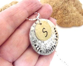 Grandmother Gift, Mom Necklace, Personalized Necklace, Hand Stamped Necklace, Mothers Necklace, Sterling Silver Necklace