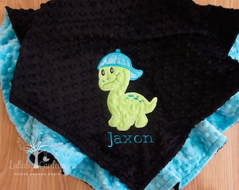Personalized Minky Baby Blanket, Appliqued Dinosaur Minky Baby Blanket, Baby Boy Blanket, Personalized Baby Gift, Dinosaur Baby Blanket