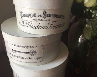 French inspired stacking hat boxes Nordic French Hand Painted  Paris Apartment