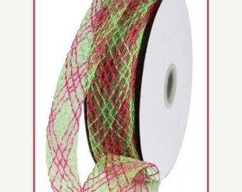 SUPPLY SALE 1.5 Inch Fresh Green Dark Pink Flex Jute Ribbon RS4028T6, Deco Mesh Supplies