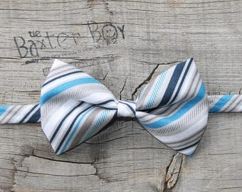 Blue and Grey diagonal stripe bow tie for little boys - photo prop, ring bearer, wedding