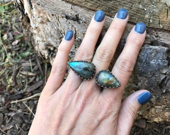 Double Labradorite and Sterling Silver Knuckle Ring - Size 9+