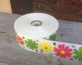 "Ribbon, Daisy Ribbon Roll, 4"" Wide Ribbon, Waterproof Ribbon, Multicolor Florist Ribbon, Wide Flower Ribbon,"