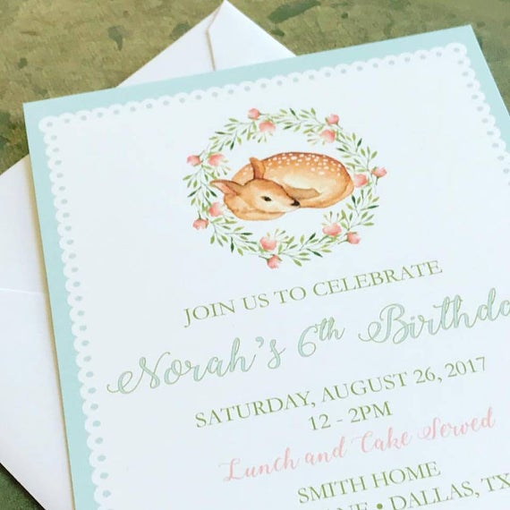 Baby Deer Fawn Invitations - Printable