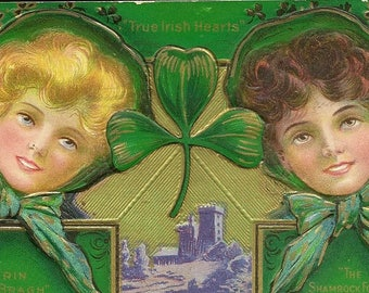 Antique St Patrick's Day Postcard Two Irish Beauties Shamrocks and Oh So Green – Erin Go Bragh 1911