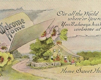 Welcome Home Vintage Postcard Home Sweet Home Verse Floral Accents and Country Cottage