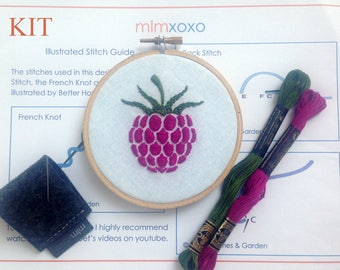 "mlmxoxo.  Embroidery KIT.  modern hand embroidery kit. raspberry embroidery pattern. DIY needlework kit.  fruit. 4"" hoop art embroidery kit."