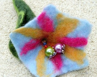 Flower blue brooch, felted wool, mother-of-pearl and crystal, Mother's Day, Sweet Mother