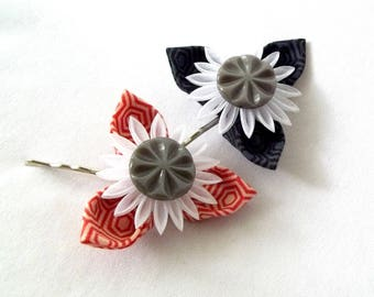 Unique Flower Bobby Pins Black White Red Gray Kanzashi Hair Pins