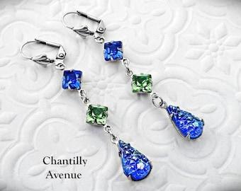 Blue and Green Victorian Earrings, Jewel Earrings, Rhinestone Earrings, Sapphire Drop Earrings