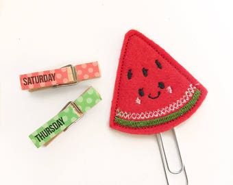 Sweet watermelon    planner clip / organizer clip /  Paperclip / Planner Bookmark - Paperclip Bookmark - Planner Clips / fruit planner clip
