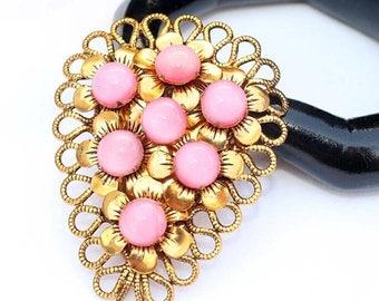 20% OFF SALE - Large Vintage Pink Moonstone Cabochon and Gold-Tone Metal Floral Fur or Dress Clip