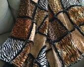 Animal Print Rag Quilt Cheetah Leopard Giraffe Tiger Zebra Exotic Wild Animal Animal Skin Prints Throw Quilt