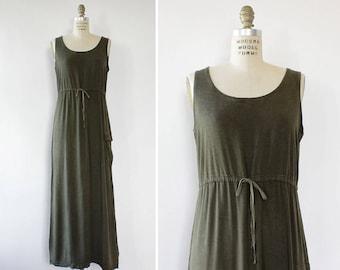 90s Maxi Dress S/M • Vintage Green Dress • Cargo Dress • Drawstring Dress • Loose Dress • Rayon Maxi Dress • Safari Dress | D1440