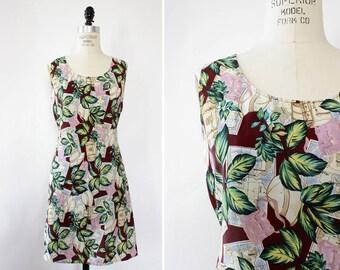Map Print Dress M/L • Vintage Mini Dress • Novelty Print Dress • Vintage Summer Dress • 90s Dress • Tropical Dress | D1382